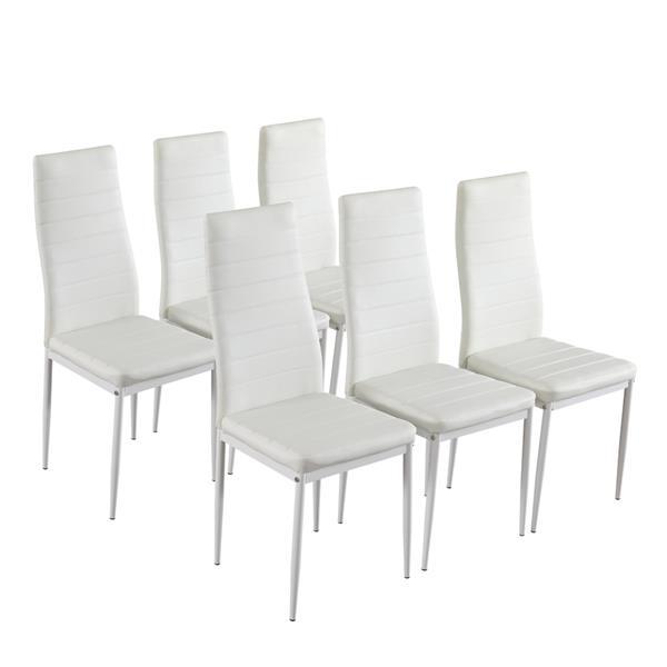 DA154不锈钢圆管桌腿透明桌面餐桌 白色横线椅 套装(本产品将拆分成两个包裹)