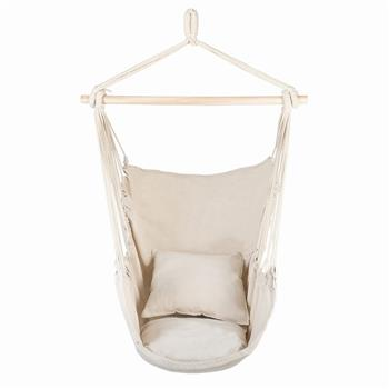 Distinctive Cotton Canvas Hanging Rope Chair with Pillows Beige