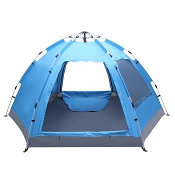 蓝色 野营六边单层双门双窗免搭建液压帐篷
