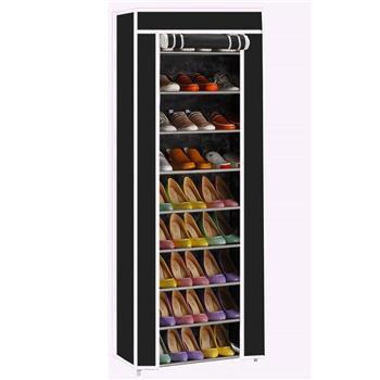 Room-saving 10-Layers 9 Lattices Non-woven Fabric Shoe Rack Black