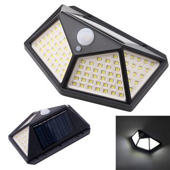 100LED太阳能壁灯(人体感应 光控)黑壳 白光 ZC001251 实际:8W 流明:500LM 电池:1800mah 锂电池 太阳板:5.5V 1W 多晶硅