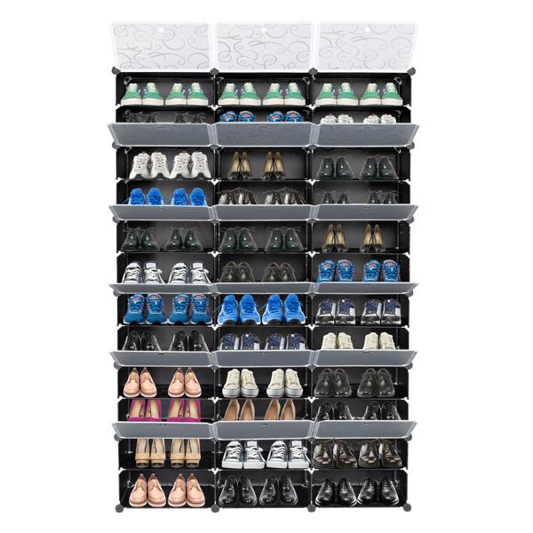 FCH 3排12层36格格子大小40*30cm 魔方片鞋柜 塑料 钢丝 122*32*180cm 半透明花纹门 黑色花纹柜体 N001 可变形 DIY风