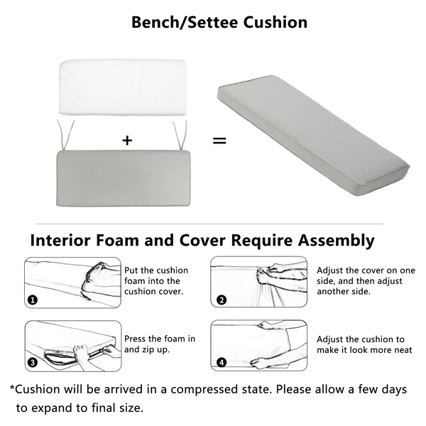109*45*7cm 灰色 长椅坐垫 长方形 N001 带绑带