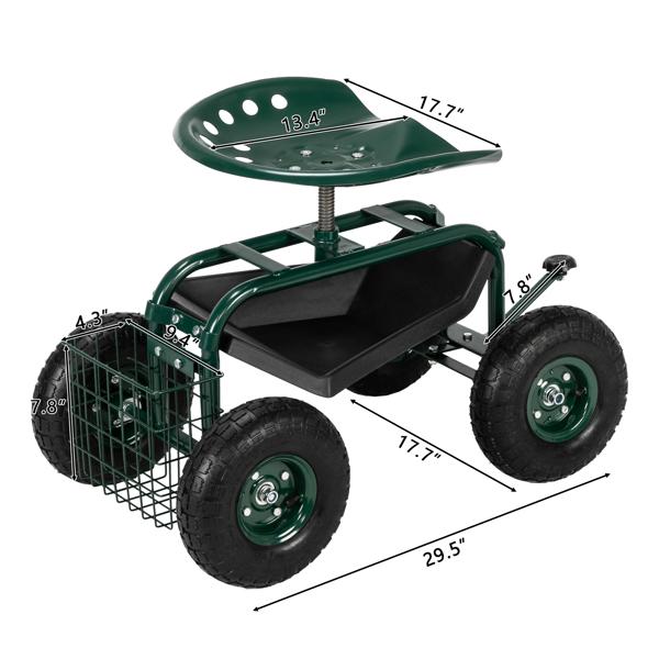 75*45*47cm 深绿色 短柄杆 花园座椅车 N001
