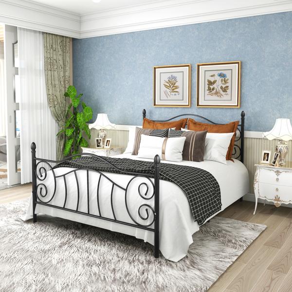 黑色大号双人床复古风格床头板