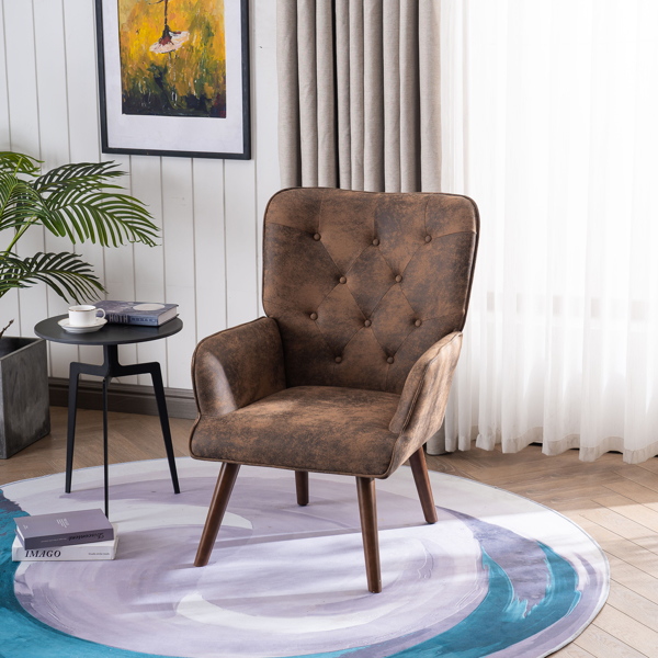 FCH 靠背拉点 鹿皮绒 软包 棕色 室内休闲椅 简约北欧风格 S101