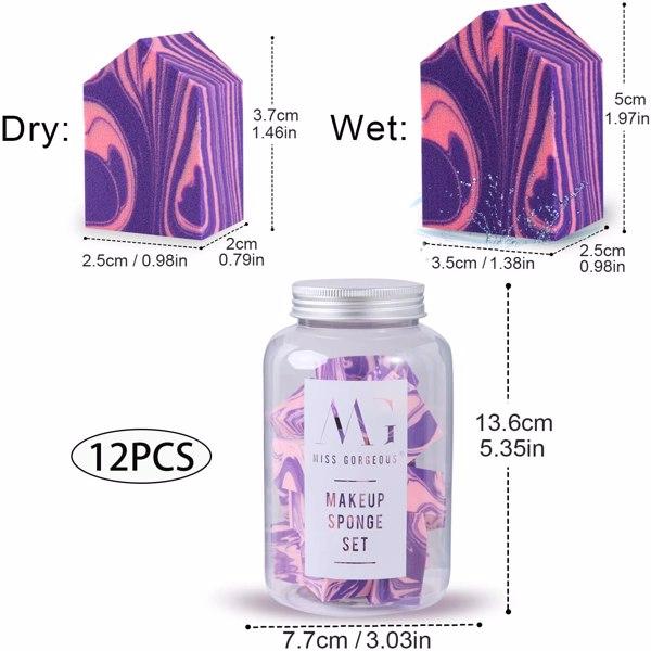 MG抹茶白大理石纹粉扑12个装 浅紫粉(亚马逊禁售)