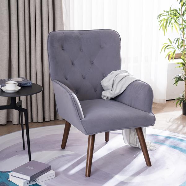 FCH 靠背拉点 绒布 软包 灰色 室内休闲椅 简约北欧风格 S101
