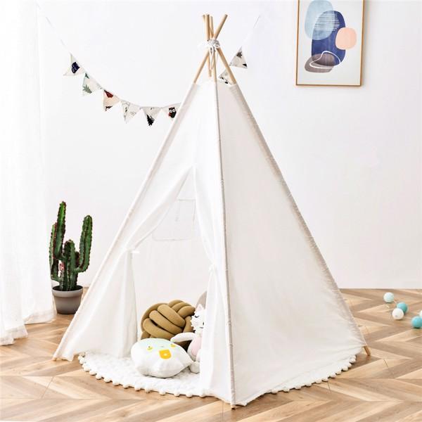 儿童帐篷帐篷 - 男孩女孩玩耍帐篷室内室外棉质帆布帐篷