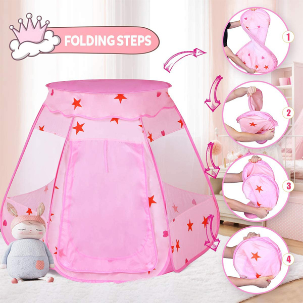 弹出式儿童女孩玩耍帐篷,带手提袋的可折叠和便携式幼儿女孩玩具