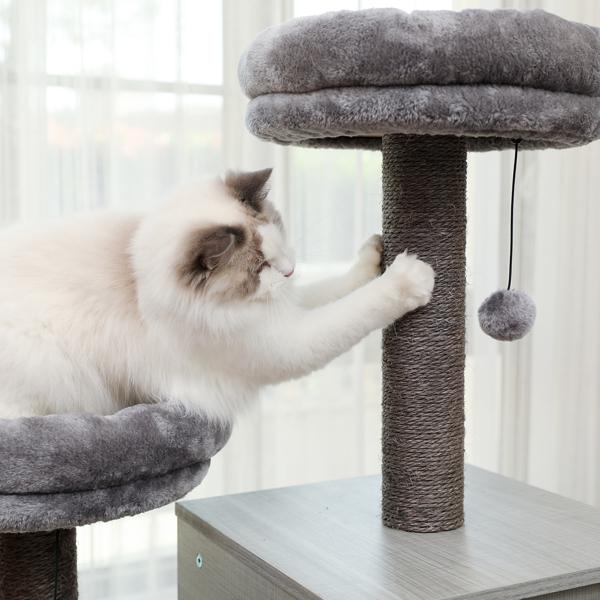 灰色中型多层猫台带有2个宽敞的猫窝,2个顶部躺窝,剑麻猫抓柱,适合猫休息,锻炼