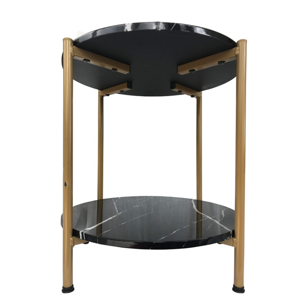 17 英寸咖啡桌茶几床头柜,人造大理石台面和金色金属框架