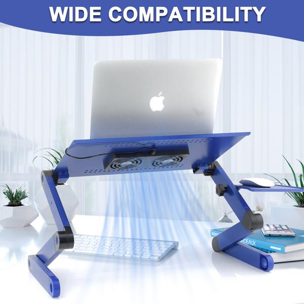 铝合金折叠笔记本电脑桌支架床上桌双风扇蓝色