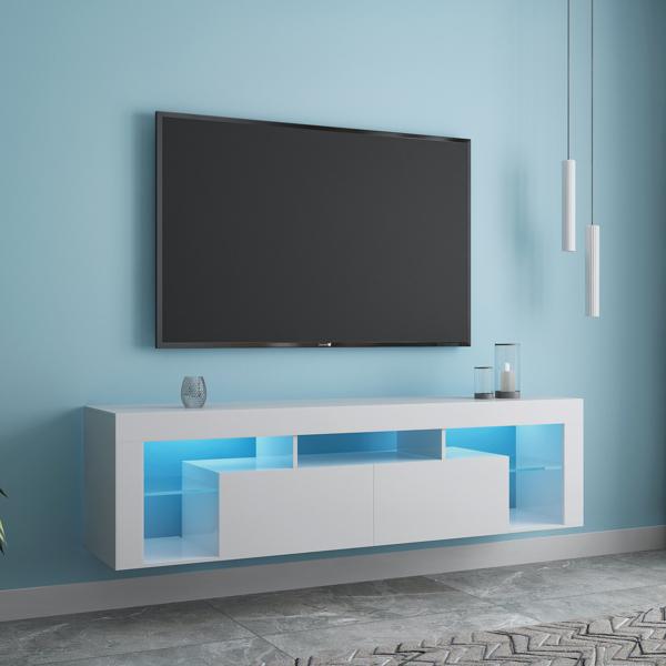 家具和地毯电视架 160 LED 壁挂式浮动 63 英寸电视架白色