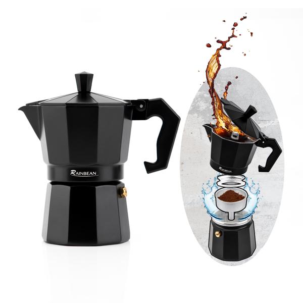 摩卡壶3杯黑色咖啡壶意式咖啡 亚马逊禁售