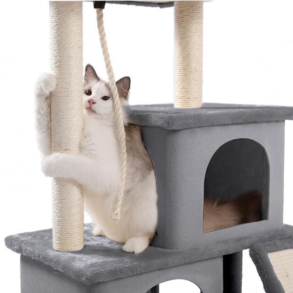灰色中型猫台带有豪华猫窝,顶部躺窝,剑麻猫抓柱,吊球,吊绳和坡道,适合中小型猫玩耍,休息
