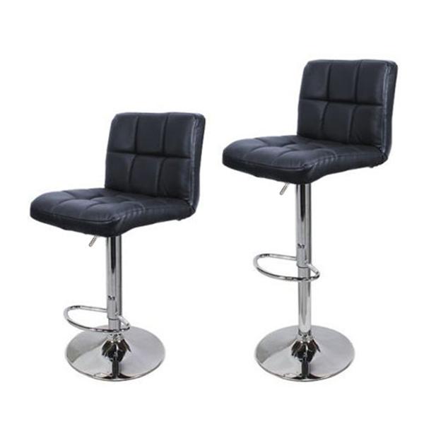 FCH 2pcs 靠背六格坐垫九格缝纫装饰无扶手 PU革 吧椅 方形 黑色坐垫银色底盘 N101 德国