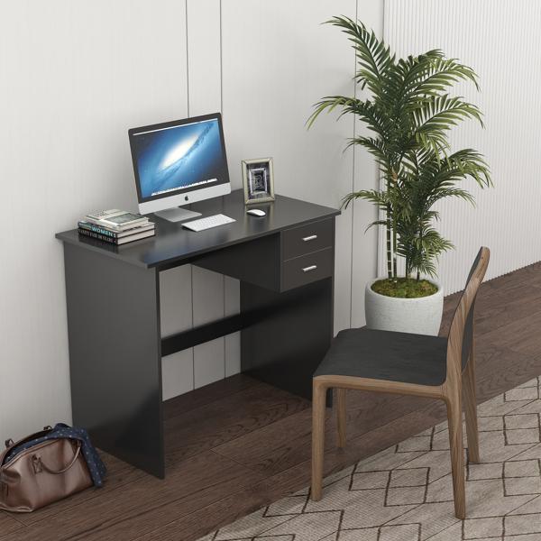 带2个拉出式储物抽屉和稳定木框架的电脑桌,黑色