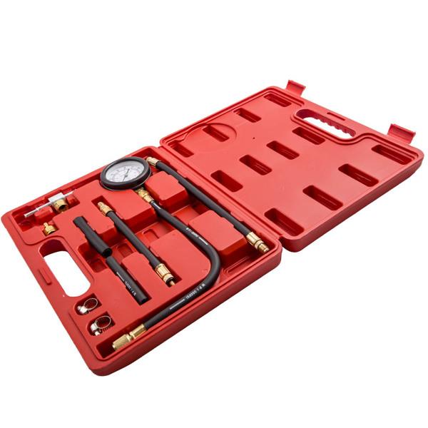 燃油压力表测试工具Oil Fuel Pressure Meter Tester Tool Gauge Diesel Petrol Car Garage Fitting Kit