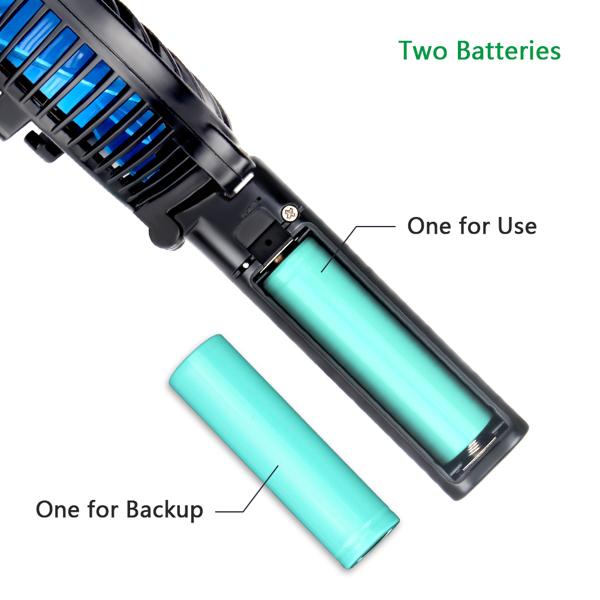 2200mAh手持小风扇黑壳+蓝色扇叶两节电池(亚马逊禁售)