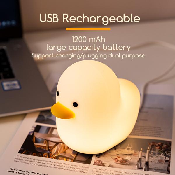 小鸭灯 Duck Night Light Kids Cute Baby Night Light lamp Long-Lasting Battery USB Rechargeable Silicone Bedside lamp for Bedroom/Living Room Gifts for Toddler/Children