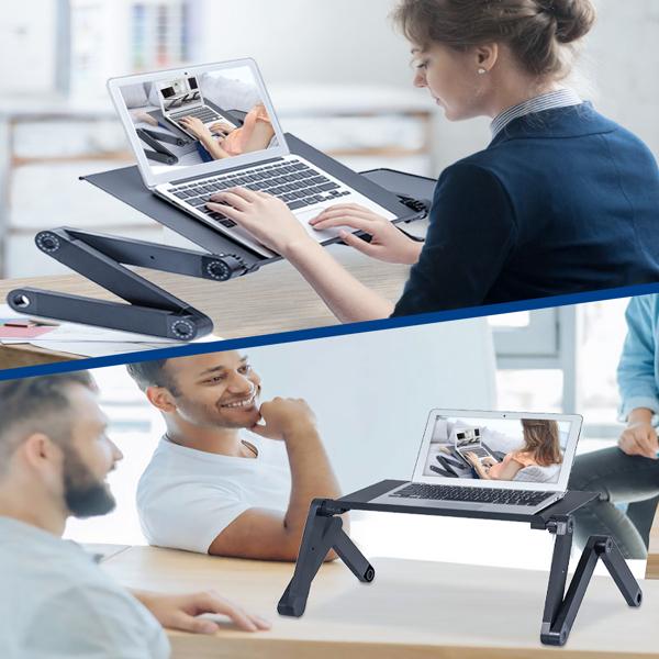 铝合金折叠笔记本电脑桌支架床上桌黑色