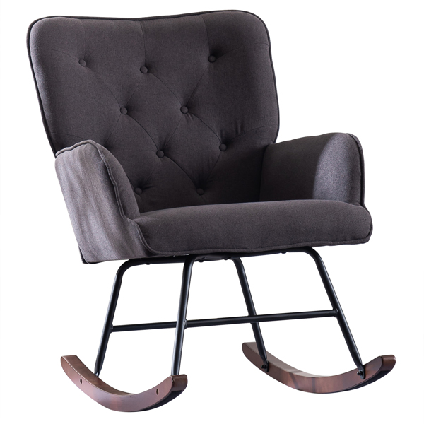 FCH 靠背拉点沙发摇椅 麻布 软包 实木腿 灰色 室内休闲椅 简约北欧风格 S101