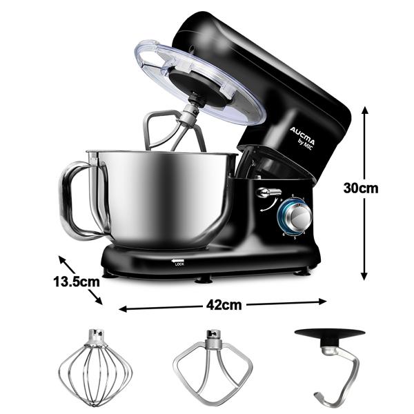 1500W 电动立式搅拌机不锈钢碗 5.5L 面团钩打蛋器 1500W 黑色
