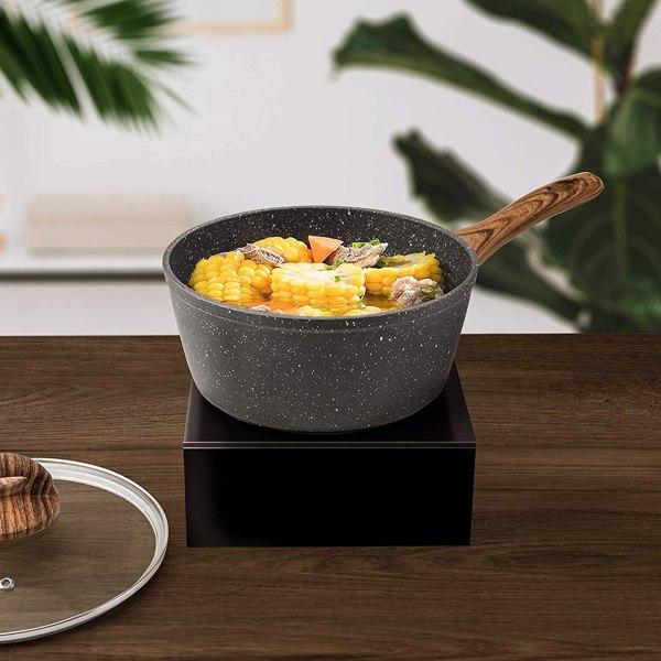 厨房奶锅20cm麦饭石汤锅压铸铁