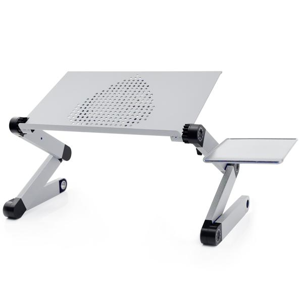 铝合金折叠笔记本电脑桌支架床上桌带大风扇银色42cm