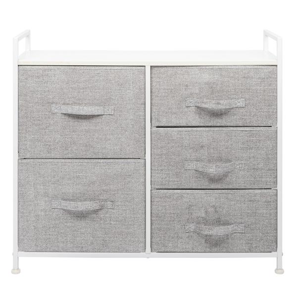 FCH 三层二大三小式带无纺布拉手 无纺布储物柜 无纺布 铁框 木板 83*30*77cm 白色面板 浅灰色抽屉 白色框架 N001 抽拉式