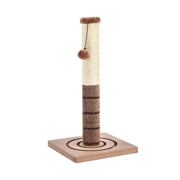 粽色小型猫抓柱带有2种猫娱乐玩具,悬挂毛绒球以及底部可循环追逐的小弹珠,适合小猫