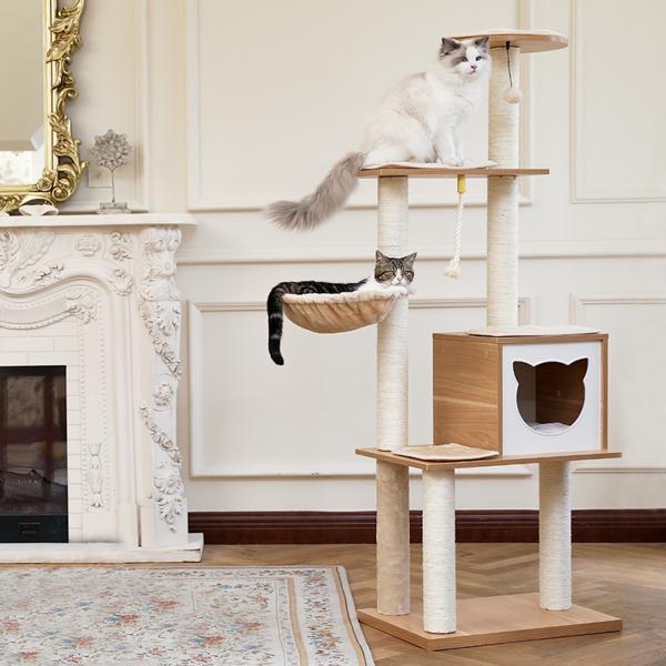米色豪华猫台带有独特的猫形状的猫窝,独特的顶部透明窝,剑麻猫抓柱,侧边猫跳跃平台,适合多只猫锻炼,休息
