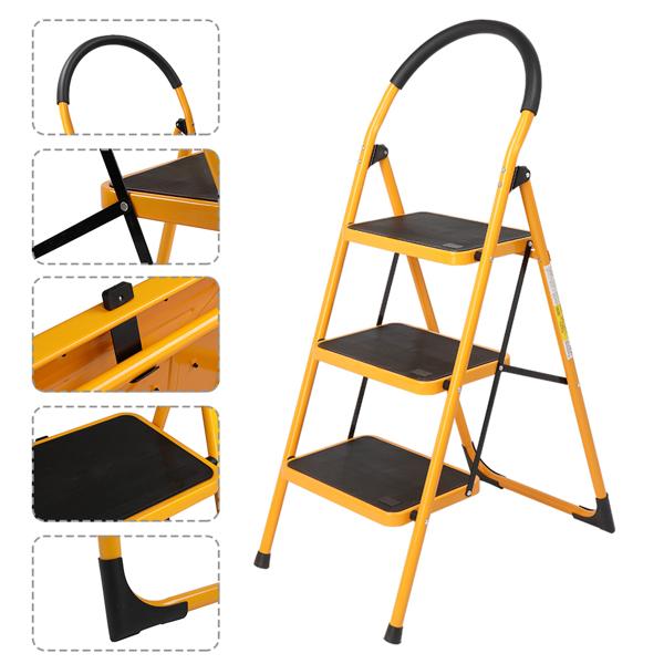铁制 3踏步 圆弧 踏步梯 姜黄色