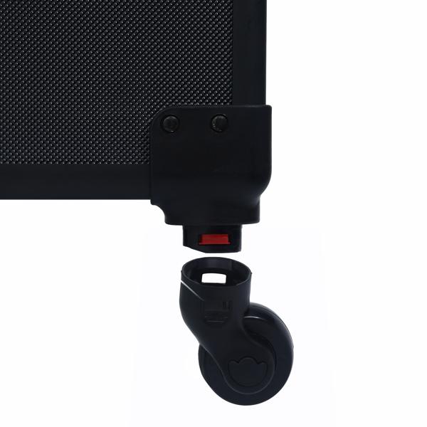 FCH 4pcs 拉杆式带万向轮 ABS 全黑 化妆箱 N001