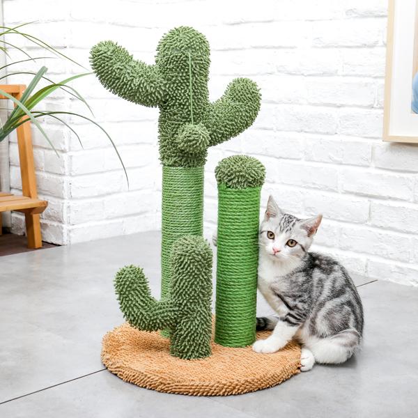 粽色仙人掌猫抓柱子带有3个猫抓柱,1个吊球,猫互动玩具适合小型猫