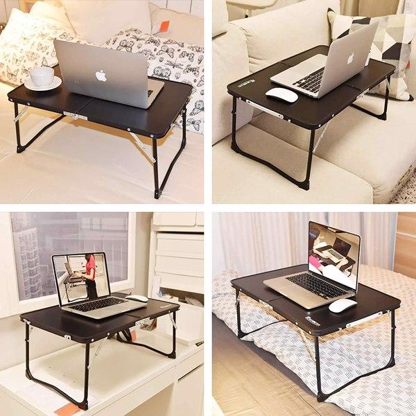 铝合金折叠早餐桌笔记本电脑桌支架床上桌户外餐桌黑色