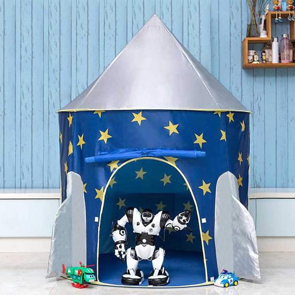 弹出式儿童帐篷 - 男孩和女孩的宇宙飞船火箭室内剧场帐篷