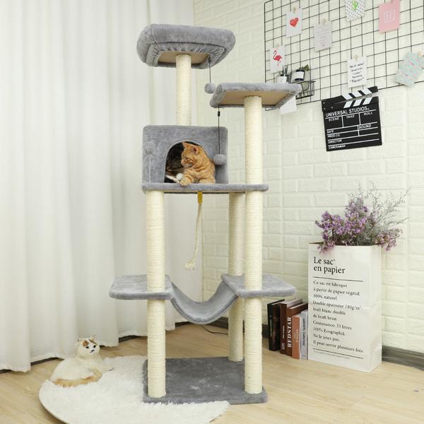 灰色多层猫台带有豪华猫窝,毛绒吊床,剑麻猫抓柱,悬挂毛绒球适合猫玩耍,休息