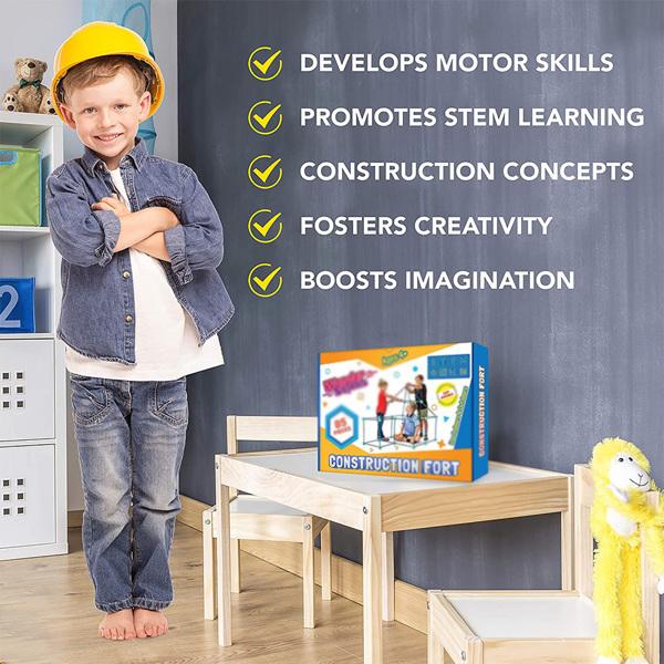 儿童堡垒建筑套件,85 件装男孩女孩堡垒玩具,DIY 建筑剧场城堡隧道游戏帐篷