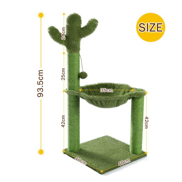 绿色仙人掌猫台带有猫抓柱,吊床和吊球,猫互动玩具适合中大型猫