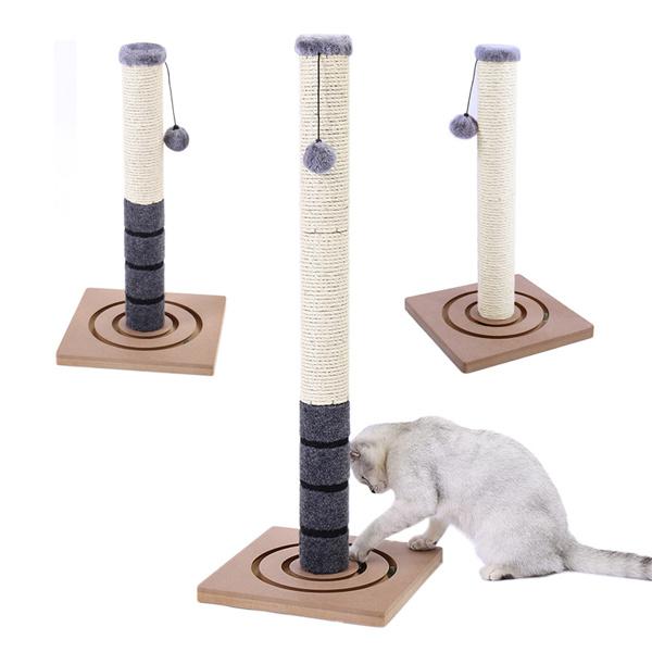 灰色小型猫抓柱带有2种猫娱乐玩具,悬挂毛绒球以及底部可循环追逐的小弹珠,适合小猫