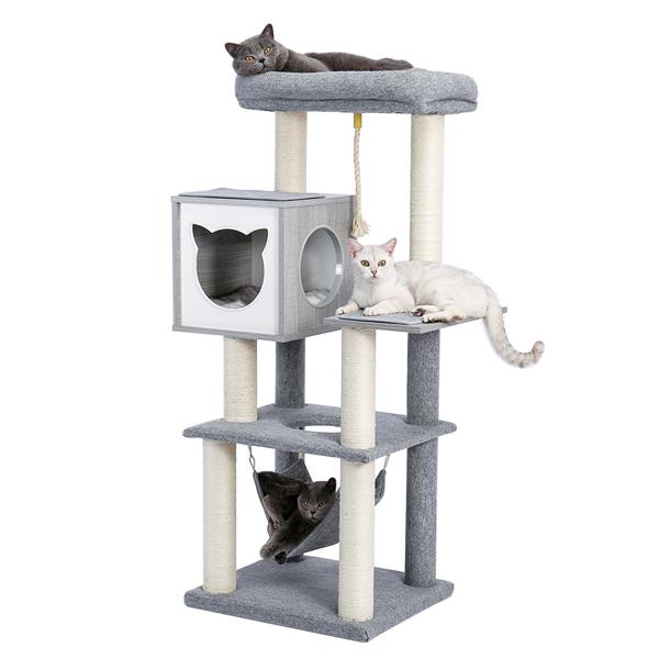灰色多层猫台带有猫形状的特色猫窝,宽敞舒适的顶部躺窝,剑麻猫抓柱,吊床和吊绳,适合猫玩耍,休息