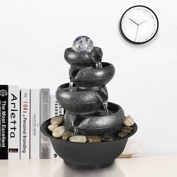 11.4英寸带灯带球室内喷泉,适用于办公室和家居装饰(亚马逊禁售)