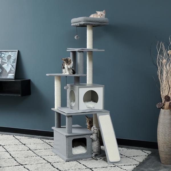 灰色多层猫台带有2个豪华猫窝,顶部躺窝,剑麻猫抓柱,2个吊球和坡道,适合中小型猫玩耍,休息