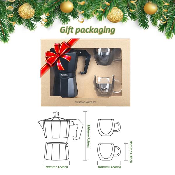 摩卡壶6杯黑色咖啡壶意式咖啡套装亚马逊禁售