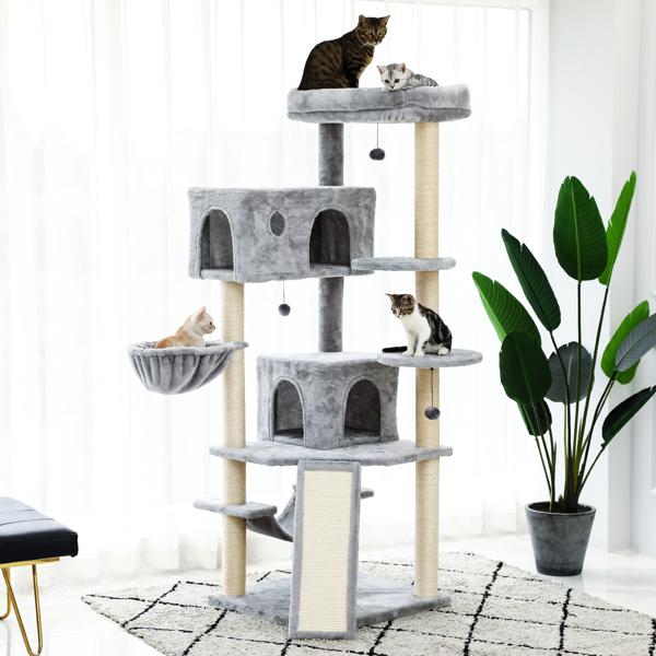 灰色大型猫台带有2个猫窝,宽敞的顶部躺窝,2个毛绒吊床,3个吊球和1个坡道,剑麻猫抓柱,适合多只猫玩耍,休息