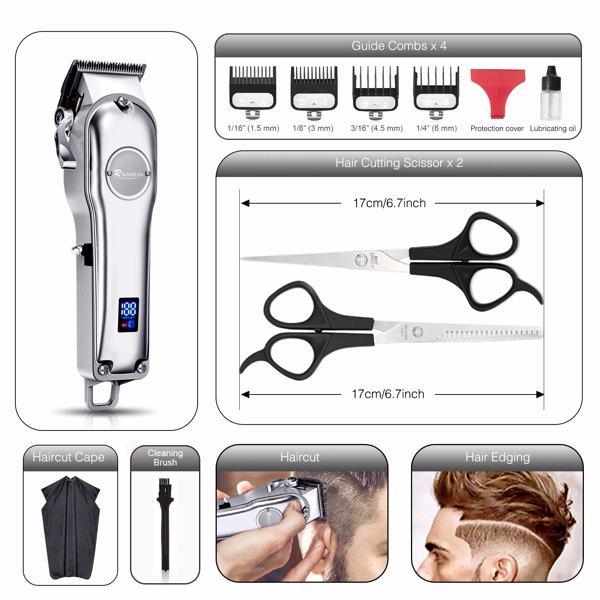 高端男士理发器IPX7防水数显家用充电理发剪剃毛器 亚马逊禁售