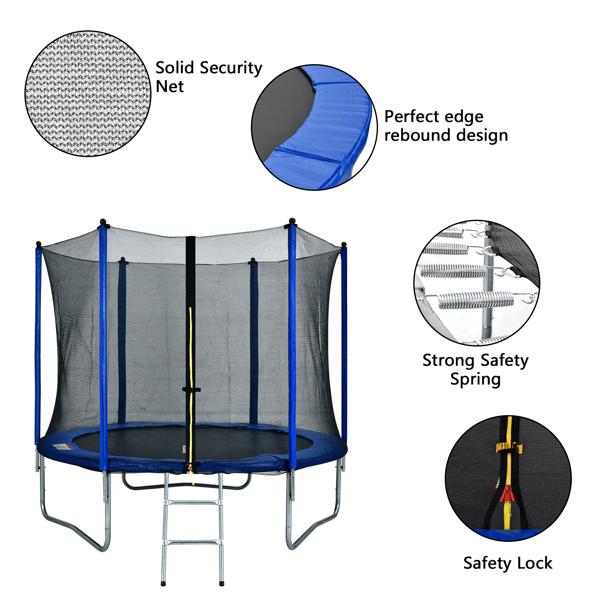 10ft 蓝色 N001 圆形外网型带梯子 蹦床