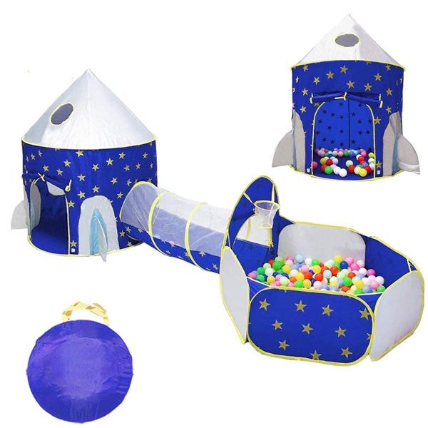 3合1火箭船游戏帐篷 - 婴儿、学步儿童的室内/室外剧场套装